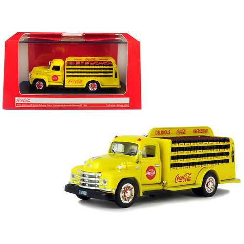 """1955 Diamond T Bottle Delivery Truck """"Coca-Cola"""" Yellow 1/50 Diecast Model Car by Motorcity Classics"""