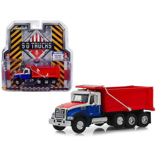 "2019 Mack Granite Dump Truck Red, White and Blue ""S.D. Trucks"" Series 6 1/64 Diecast Model by Greenlight"