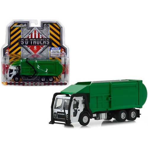 "2019 Mack LR Refuse Garbage Truck White and Green ""S.D. Trucks"" Series 6 1/64 Diecast Model by Greenlight"