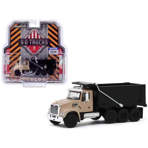 "2019 Mack Granite Dump Truck Bronze and Black ""S.D. Trucks"" Series 9 1/64 Diecast Model by Greenlight"