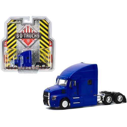 "2019 Mack Anthem Truck Cab Cobalt Blue Metallic ""S.D. Trucks"" Series 10 1/64 Diecast Model by Greenlight"