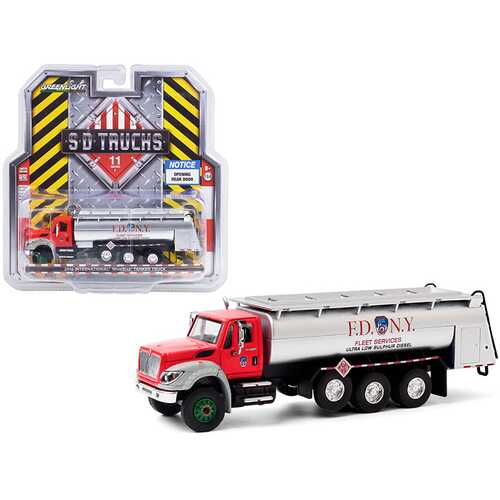 """2018 International WorkStar Tanker Truck """"FDNY"""" (The Official Fire Department City of New York) Red and Silver """"S.D. Trucks"""" Series 11 1/64 Diecast Model by Greenlight"""