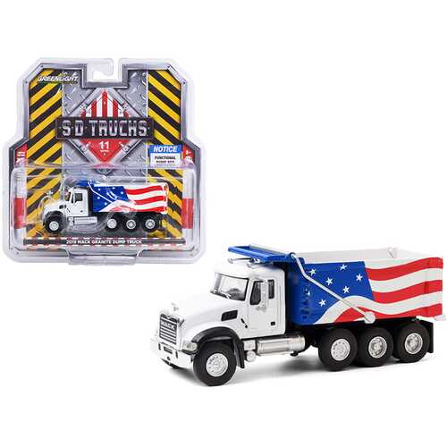 "2019 Mack Granite Dump Truck White with American Flag Graphics ""S.D. Trucks"" Series 11 1/64 Diecast Model by Greenlight"