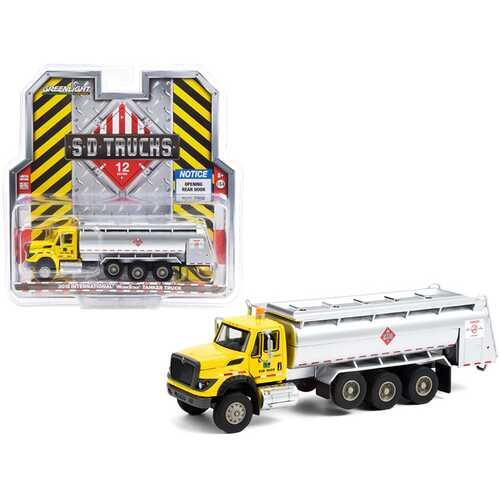 "2018 International WorkStar Tanker Truck Yellow and Silver ""PennDOT"" (Pennsylvania Department of Transportation) ""S.D. Trucks"" Series 12 1/64 Diecast Model by Greenlight"