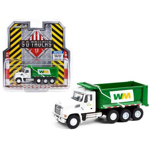 "2020 Mack Granite Dump Truck White and Green ""Waste Management"" ""S.D. Trucks"" Series 12 1/64 Diecast Model by Greenlight"