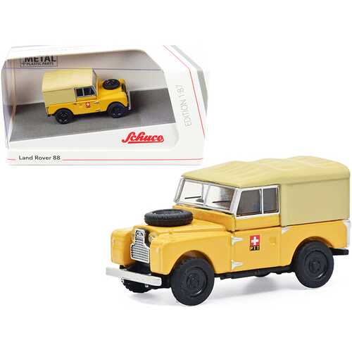 """Land Rover 88 """"PTT"""" Yellow with Tan Top 1/87 (HO) Diecast Model Car by Schuco"""