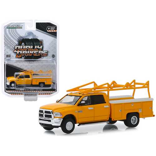"""2018 RAM 3500 Laramie Service Bed Truck with Ladder Rack Yellow """"Dually Drivers"""" Series 2 1/64 Diecast Model Car by Greenlight"""