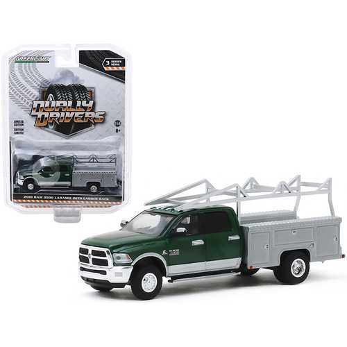 """2018 RAM 3500 Laramie Dually Service Bed Truck with Ladder Rack Green Metallic and Gray Metallic """"Dually Drivers"""" Series 3 1/64 Diecast Model Car by Greenlight"""