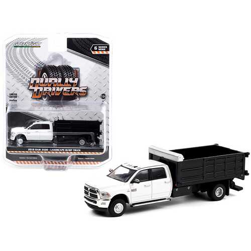 """2018 Ram 3500 Dually Landscaper Dump Truck Bright White and Black """"Dually Drivers"""" Series 6 1/64 Diecast Model Car by Greenlight"""