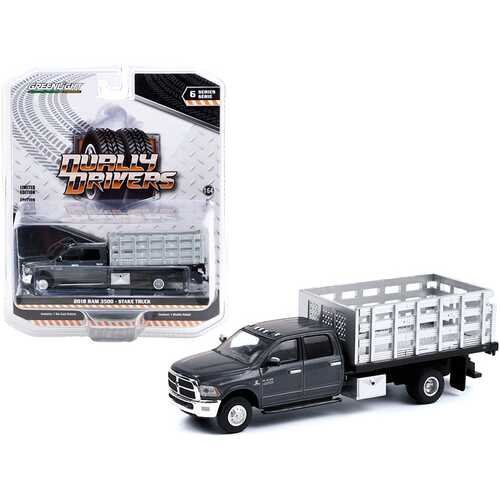 """2018 Ram 3500 Dually Stake Truck Granite Crystal Gray Metallic Clearcoat """"Dually Drivers"""" Series 6 1/64 Diecast Model Car by Greenlight"""