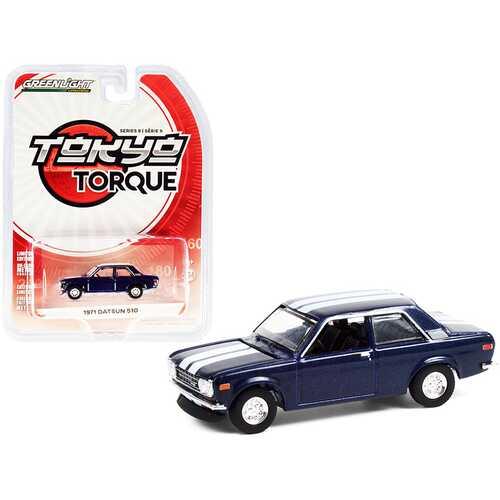 "1971 Datsun 510 Custom Rich Blue Metallic with White Stripes ""Tokyo Torque"" Series 9 1/64 Diecast Model Car by Greenlight"