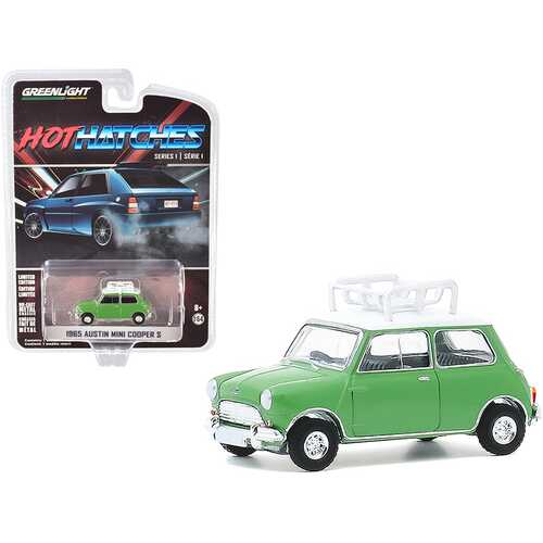 """1965 Austin Mini Cooper S with Roof Rack Green with White Top """"Hot Hatches"""" Series 1 1/64 Diecast Model Car by Greenlight"""