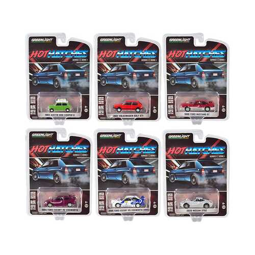"""""""Hot Hatches"""" Set of 6 pieces Series 1 1/64 Diecast Model Cars by Greenlight"""