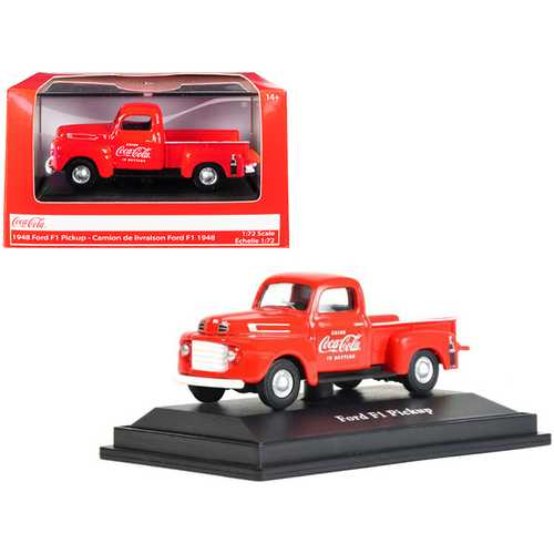 "1948 Ford F1 Pickup Truck ""Coca-Cola"" Red 1/72 Diecast Model Car by Motorcity Classics"