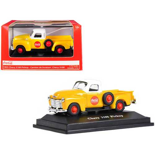 """1953 Chevrolet 3100 Pickup Truck """"Coca-Cola"""" Yellow with White Top 1/72 Diecast Model Car by Motorcity Classics"""