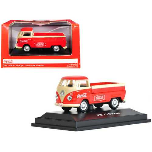 """1962 Volkswagen T1 Pickup Truck """"Coca-Cola"""" Red and Cream 1/72 Diecast Model Car by Motorcity Classics"""