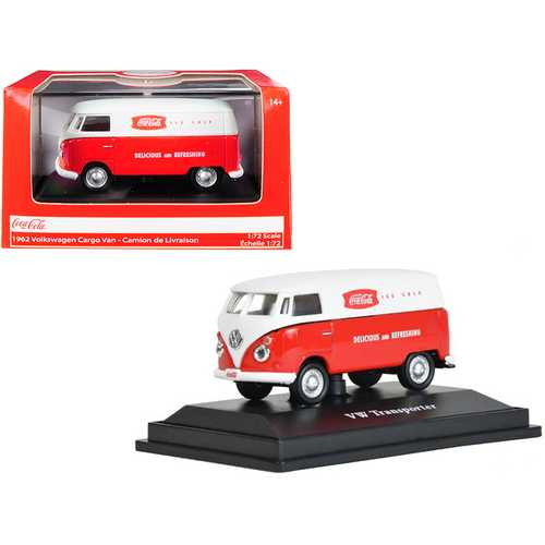 """1962 Volkswagen Transporter Cargo Van """"Coca-Cola"""" Red and White 1/72 Diecast Model by Motorcity Classics"""