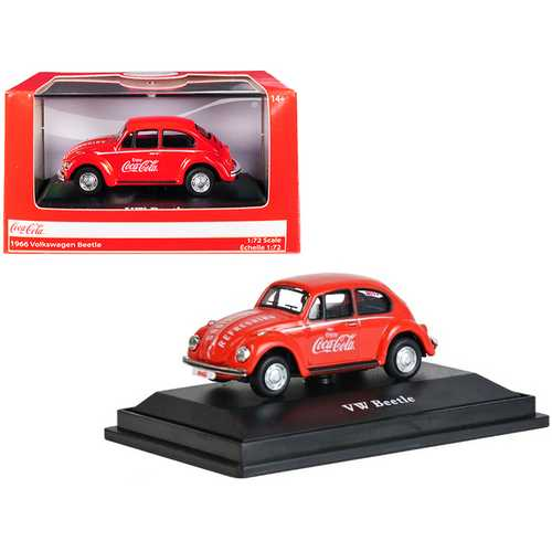 """1966 Volkswagen Beetle """"Coca-Cola"""" Red 1/72 Diecast Model Car by Motorcity Classics"""