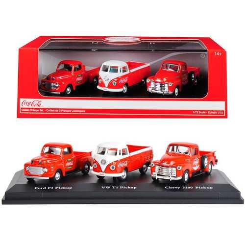 """Classic Pickups"" Gift Set of 3 Pickup Trucks ""Coca Cola"" 1/72 Diecast Model Cars by Motorcity Classics"