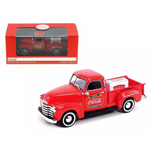 "1953 Chevrolet Pickup Truck Red ""Coca-Cola"" with Metal Cooler 1/43 Diecast Model by Motorcity Classics"