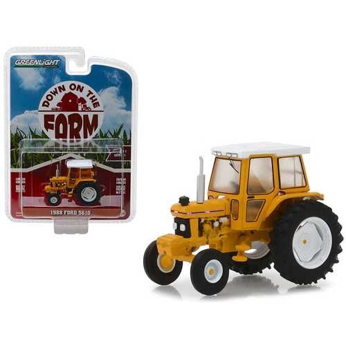 "1988 Ford 5610 Tractor Yellow and White with Enclosed Cab ""Down on the Farm"" Series 1 1/64 Diecast Model by Greenlight"