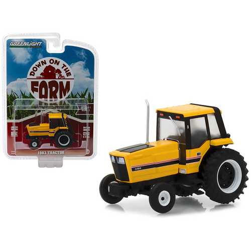 "1983 Tractor 3488 Yellow and Black with Enclosed Cab ""Down on the Farm"" Series 1 1/64 Diecast Model by Greenlight"