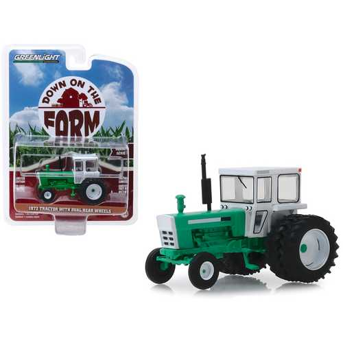 "1972 Tractor with Dual Rear Wheels White and Green ""Down on the Farm"" Series 3 1/64 Diecast Model by Greenlight"