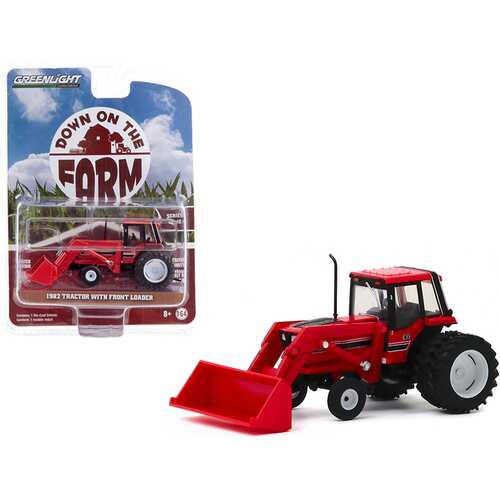 """1982 Tractor with Front Loader and Dual Rear Wheels Red """"Down on the Farm"""" Series 4 1/64 Diecast Model by Greenlight"""