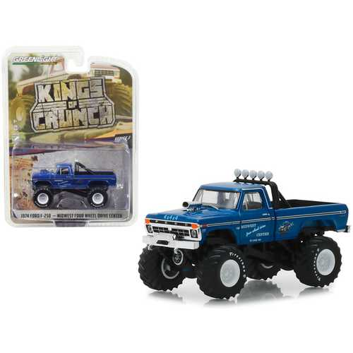 """1974 Ford F-250 Monster Truck """"Midwest Four Wheel Drive Center"""" """"Kings of Crunch"""" Series 3 1/64 Diecast Model Car by Greenlight"""