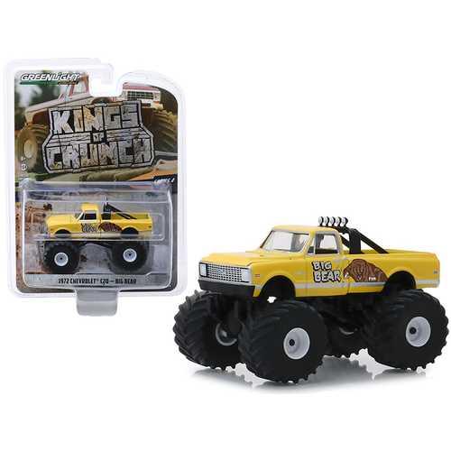 "1972 Chevrolet C20 Monster Truck ""Big Bear"" Yellow ""Kings of Crunch"" Series 4 1/64 Diecast Model Car by Greenlight"
