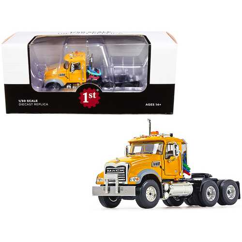 Mack Granite MP Engine Series Truck Tractor Yellow 1/50 Diecast Model by First Gear