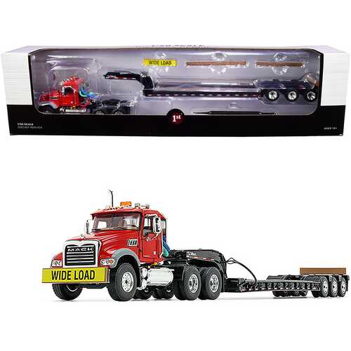 Mack Granite MP Tandem-Axle Day Cab with Talbert Tri-Axle Lowboy Trailer Red and Black 1/50 Diecast Model by First Gear