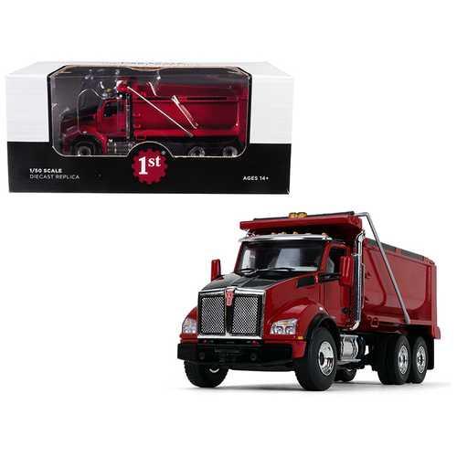 Kenworth T880 Tandem Axle Dump Truck Red 1/50 Diecast Model by First Gear