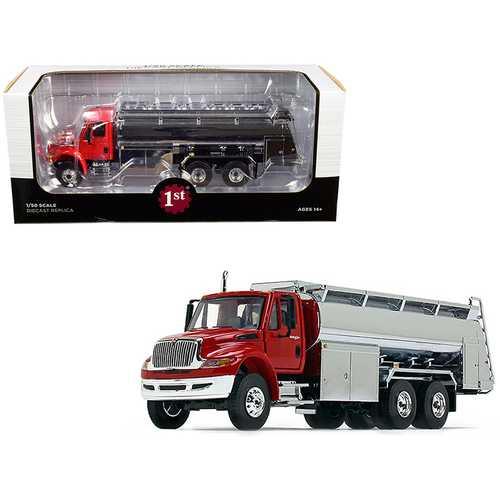 International DuraStar Liquid Fuel Tank Truck Viper Red and Chrome 1/50 Diecast Model by First Gear