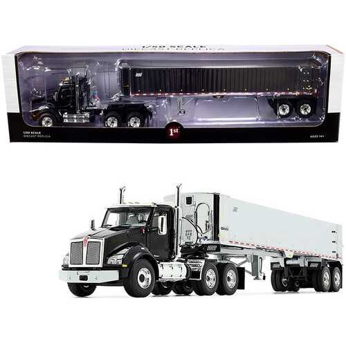 Kenworth T880 Day Cab with East Genesis End Dump Trailer Black and Chrome 1/50 Diecast Model by First Gear