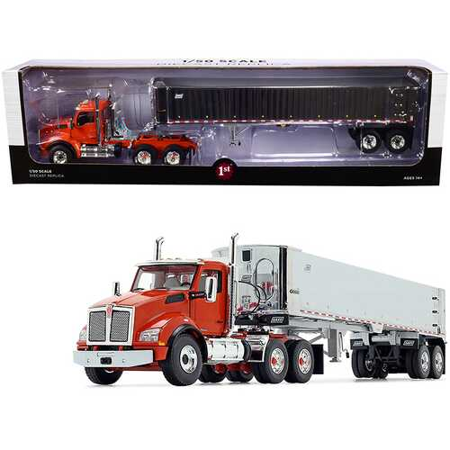 Kenworth T880 Day Cab with East Genesis End Dump Trailer Burnt Orange and Chrome 1/50 Diecast Model by First Gear