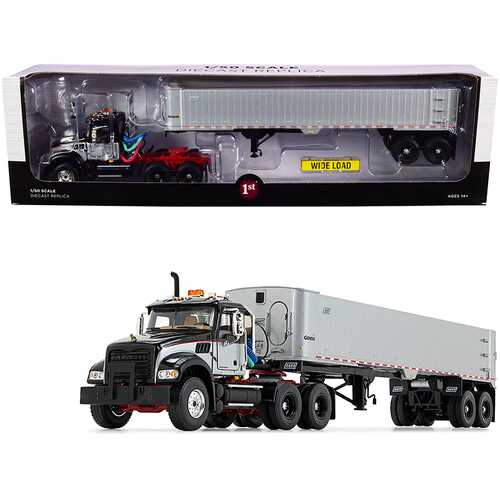 Mack Granite MP Tandem-Axle Day Cab with East Genesis End Dump Trailer Black and Silver 1/50 Diecast Model by First Gear