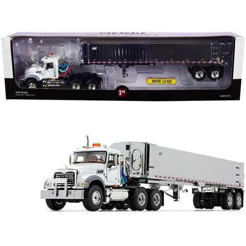 Mack Granite MP Tandem-Axle Day Cab with East Genesis End Dump Trailer White and Chrome 1/50 Diecast Model by First Gear
