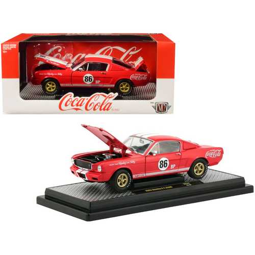 "1965 Ford Mustang Shelby G.T. 350R #86 ""Coca-Cola"" Coke Red Limited Edition to 9600 pieces Worldwide 1/24 Diecast Model Car by M2 Machines"