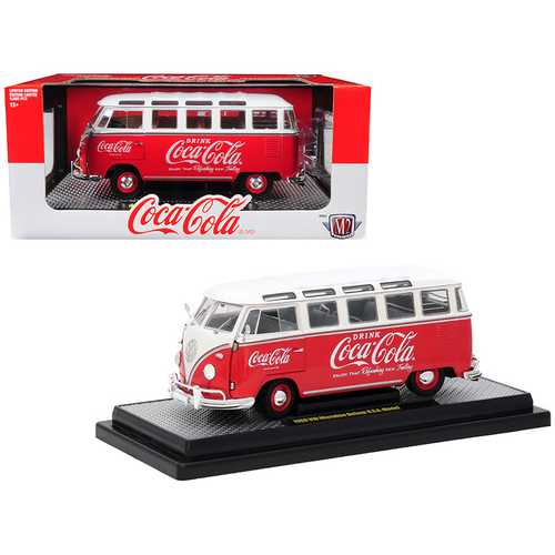 """1960 Volkswagen Microbus Deluxe U.S.A. Model """"Coca-Cola"""" Red with White Top Limited Edition to 9,600 pieces Worldwide 1/24 Diecast Model by M2 Machines"""