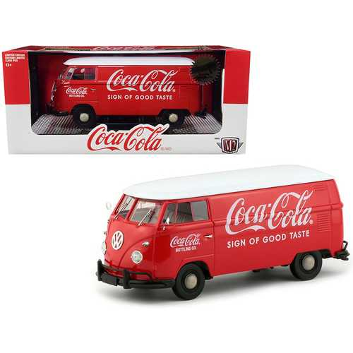 """1960 Volkswagen Delivery Van """"Coca-Cola"""" Red with White Top Limited Edition to 2000 pieces Worldwide 1/24 Diecast Model by M2 Machines"""