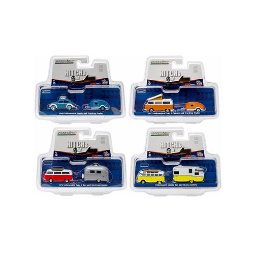 Hitch & Tow V-Dub Assortment Set of 4 1/64 Diecast Model Cars by Greenlight