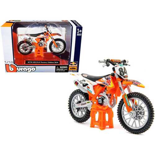 "KTM 450 SX-F #84 ""Red Bull"" Factory Edition 2018 1/18 Diecast Motorcycle Model by Bburago"