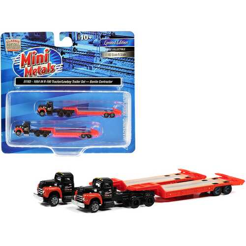 """1954 IH R-190 Tractor Truck with Lowboy Trailer """"Bonito Contractor"""" Black and Red Set of 2 pieces 1/160 (N) Scale Models by Classic Metal Works"""