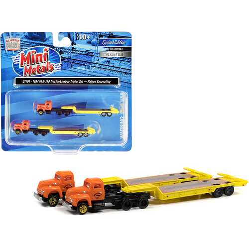 """1954 IH R-190 Truck Tractor with Lowboy Trailer """"Haines Excavating"""" Orange and Yellow Set of 2 pieces 1/160 (N) Scale Models by Classic Metal Works"""