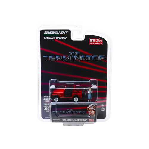 """1983 Jeep CJ-7 Renegade Red with Sarah Connor Figure """"The Terminator"""" (1984) Movie Limited Edition to 4600 pieces Worldwide 1/64 Diecast Model Car by Greenlight"""