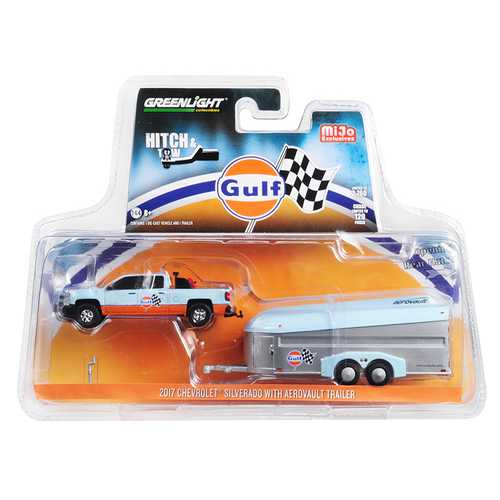 "2017 Chevrolet Silverado Pickup Truck and Aerovault Trailer ""Gulf Oil"" ""Hitch & Tow"" Series Limited Edition to 2,760 pieces Worldwide 1/64 Diecast Model Car by Greenlight"