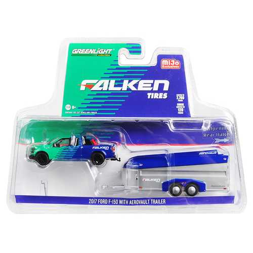 "2017 Ford F-150 Pickup Truck and Aerovault Trailer ""Falken Tires"" Limited Edition to 2,760 pieces Worldwide 1/64 Diecast Model Car by Greenlight"