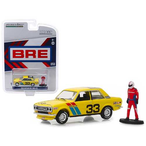 "1969 Datsun 510 #33 BRE (Brock Racing Enterprises) with Race Car Driver Figure ""Bishop Exclusive"" 1/64 Diecast Model Car by Greenlight"