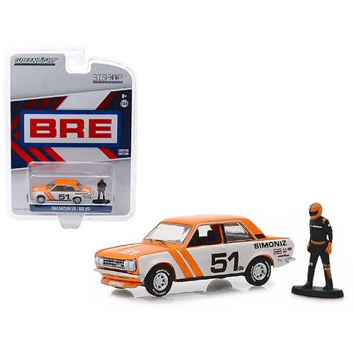"1969 Datsun 510 #51 ""Simoniz"" BRE (Brock Racing Enterprises) with Race Car Driver Figure ""Bishop Exclusive"" 1/64 Diecast Model Car by Greenlight"